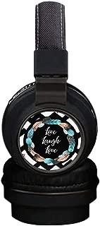 Live Laugh Love Wireless Headsets, INmark Bluetooth Headphones with SD Card FM Radio in-line Bluetooth 4.2 Volume Control Microphone, Creative Art on Ear Hi-Fi Stereo Black Earphones