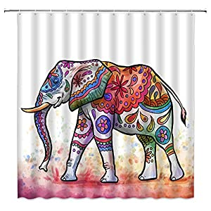 MNSC Mandala Elephant Shower Curtain Bohemia Elephant Boho Batik Animal Hippie Ethnic Vintage Abstract Colorful Indian 3D Printing Kids Nursery Decor Bathroom Curtain Fabric 70X70IN with Hooks,White