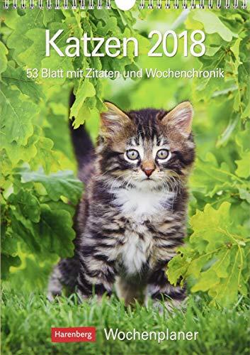 Katzen - Kalender 2018: Wochenplaner, 53 Blatt mit Zitaten und Wochenchronik