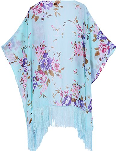 soul young Sommer Strand Kimono für Frauen - Damen Chiffon Pareo Cardigan Cover up Sommerkleider für Bikini(One Size,Bleu)
