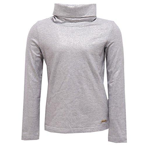 Simonetta 0929W Maglia Bimba Girl Cotton Silver Lurex Turtleneck t-Shirt [6 Years]