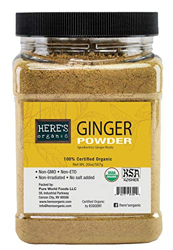 Organic Ginger Powder - USDA Certified - 1LBs / 16oz / 455g in Wide Mouthed Jars, Highly Aromatic and Strong Flavor