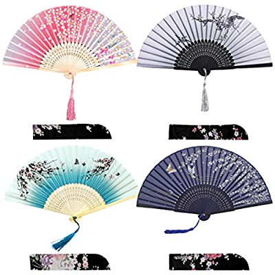 iZoeL Pocket Fans Folding Handheld Bamboo Fans with Tassel with 4 Delicate Bags Wedding Favours Party Guest Gift Wall Decoration Women Fan Blue & grey & Black & Pink