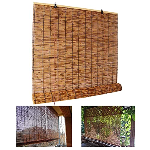 YAO YU Roll up Blind,Natural Reed Curtain,Bamboo Roller Shades,for Indoor/Outdoor,Lifting Sunshades,Retro Decoration Straw Curtain,Windows Shutters,50X60Cm/20X24In,100X120Cm/39.5X47In