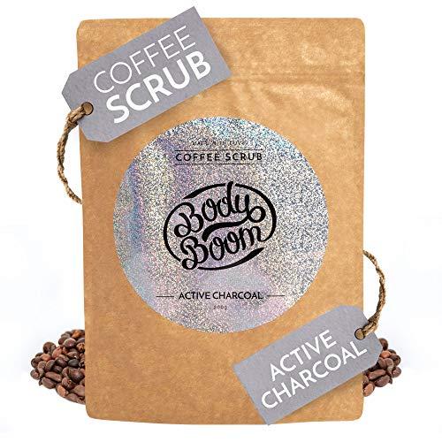 BodyBoom Kaffee Körperpeeling mit Active Charcoal | 200g | Perfekt für Beine, Gesicht und Hände | Säubert, Löscht Toxine, Strafft, Gleicht Hautkolorit | Vegane | Hergestellt in Europa