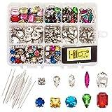 PandaHall 260 piezas de cristal para coser diamantes de imitación con agujas de colores mezclados para coser en garra de diamantes de imitación con agujero para ropa de vestir DIY bolsa de zapatos