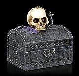 Figuren Shop GmbH Gothic Totenkopf Schmuck-Schatulle - Dark Shroud | Fantasy Schmuckkästchen, handbemalt, mit Deckel