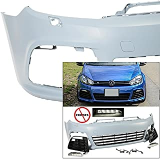 EAX Compatible with Volkswagen VW Golf GTI 2010 2011 2012 2013 2014 MK6 VI Replacement for R20 Style Front Bumper Cover Kit 10 11 12 13 14
