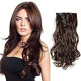 8extensiones de pelo de 60 cm de S-noilite de color castaño oscuro, para aumento de volumen