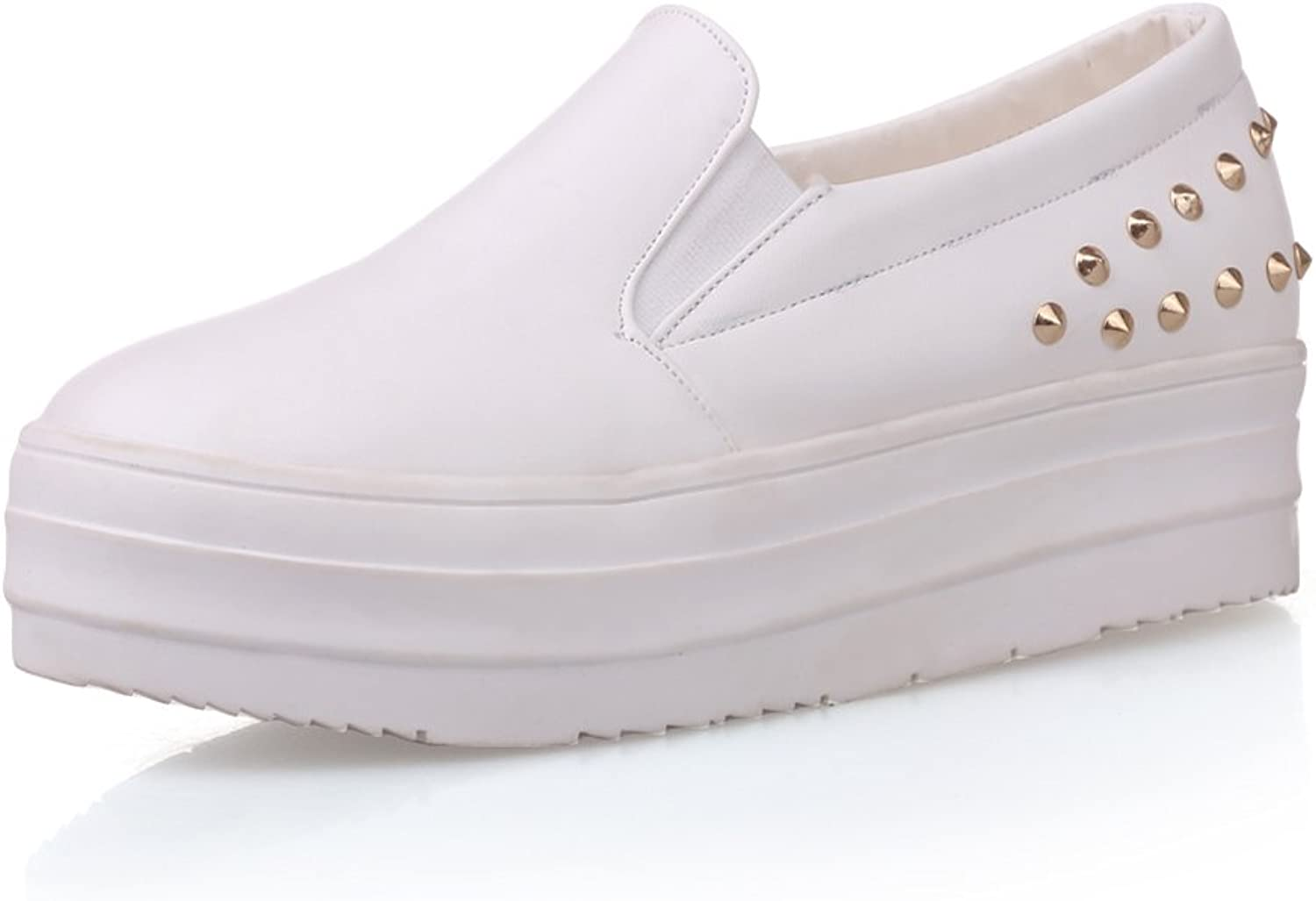 Lucksender Womens Casual Wedge Heel Loafer shoes with Rivet