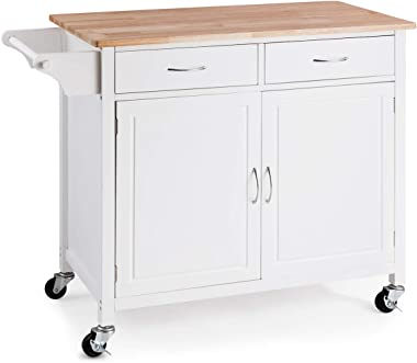 GOFLAME Portable Kitchen Island Cart with Storage and Drawers, Rolling Storage Cabinet Trolley Cart with Lockable Wheels, Hom