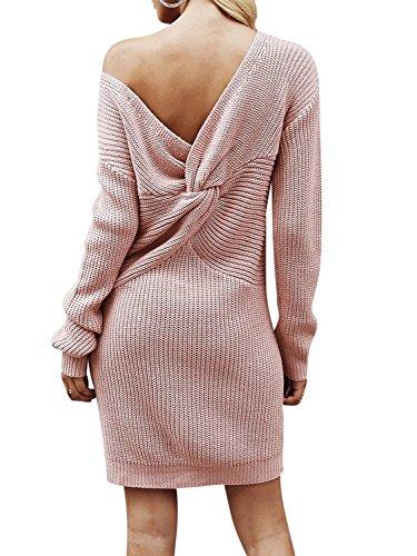 Melegant Damen Herbst Kleid Elegant Knielang Langarm One Shoulder Pullover Strickkleid Jersey-Kleid Winter Rosa Pink