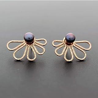 Perla rosa aretes de oro pendiente, aretes de la chaqueta de oreja, regalo de doble cara chaquetas de pendiente, pendientes de la parte posterior del pendiente, aretes de perlas