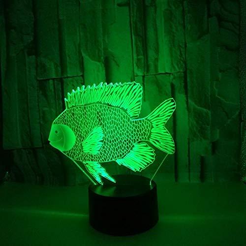 Luz de noche LED con ilusión 3D, interruptor táctil de 7 colores Lámpara de escritorio USB para Navidad o decoraciones casa Interruptor táctil de pescado