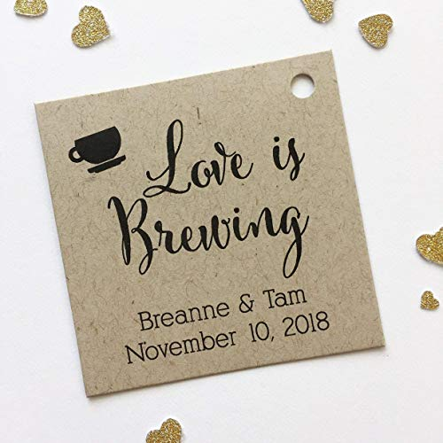 Love Is Brewing Kraft Favor Tags, Coffee Cup Wedding Favor Tags, Wedding Hang Tags (SQ-095-KR)