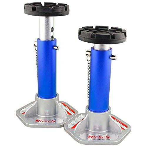 Aluminium Unterstellbock Ø 125mm - Tragkraft 3000Kg - Farbe: Blau - 7-fach verstellbar