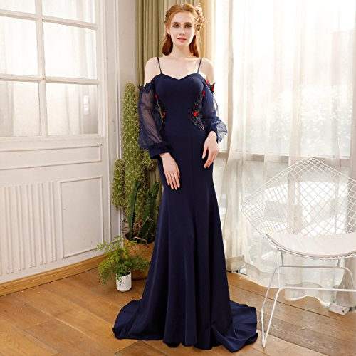 Sun Goddess SportingGoodsMermaid Abendkleid Schatz Langarm Navy Blue Appliken Slim Bankett Prom Partei Kleid Robe De Soiree, Navy Blue, 6.