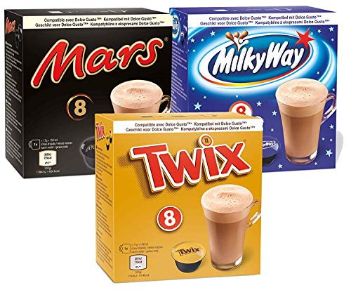 Hot Chocolate Pods 3 Sorten - Mars, Twix, Milky Way - geeignet für Dolce Gusto (3x8 Kapseln)