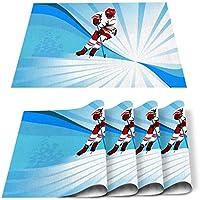 プレースマットセット4ダイニングキッチンテーブルマット断熱滑り止めウォッシャブルアイスホッケースポーツディナープレースマットセット