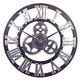 DORBOKER 16' orologio da parete grande retrò premium per cucina, camera da letto, soggiorno, ufficio( 40CM Gear Silver)
