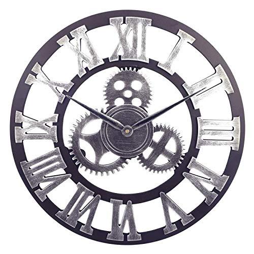 Outpicker Reloj de Pared de Engranaje silencioso de 16 Pulgadas con números Romanos Reloj Retro 3D Grande para decoración de cafetería (Astilla-A)