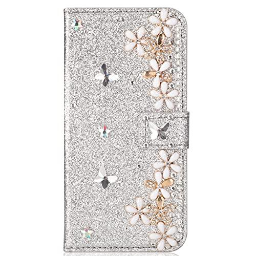 Blllue Funda tipo cartera compatible con Samsung A21s, Bling Glitter Lucky Flower Diamond Pu Funda de cuero Flip Phone Cover para Samsung Galaxy A21s - Plata