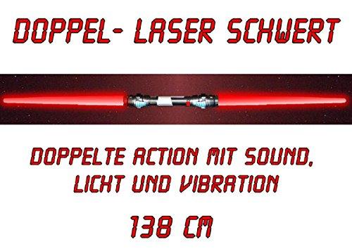 tevenger Laserschwert Kinder Lichtschwert Lang Doppellaserschwert Sound Beleuchtung Vibration 138 cm Rot