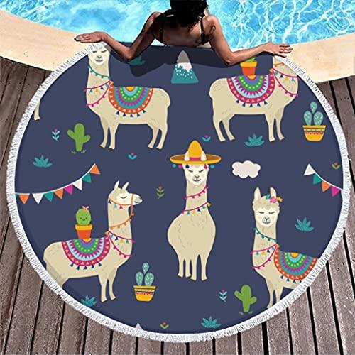 Toalla de playa redonda con animales de alpaca, de microfibra, absorbente, para playa, picnic, playa, yoga, viaje, para dos personas, color blanco, 150 cm