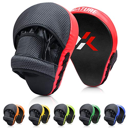 Xnature Essential Curved Boxing MMA Punching Mitts Boxing Pads Hook & Jab Pads MMA Target Focus Punching Mitts Thai Strike Kick Shield a Pair