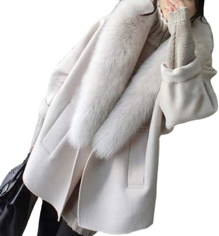 TDCACA Women's Faux Fur Collar Winter Wool Blend Jacket Warm Pea Coat