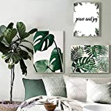Green Leaf Wall Art Tropical Palm Leaf Canvas Print Art Wall Decor Plants Picture Artwork Plant Decor Plants Picture Plants Wall Art Paintings for Bedroom Living Room Office Home Walls (12x16inch) No Framed