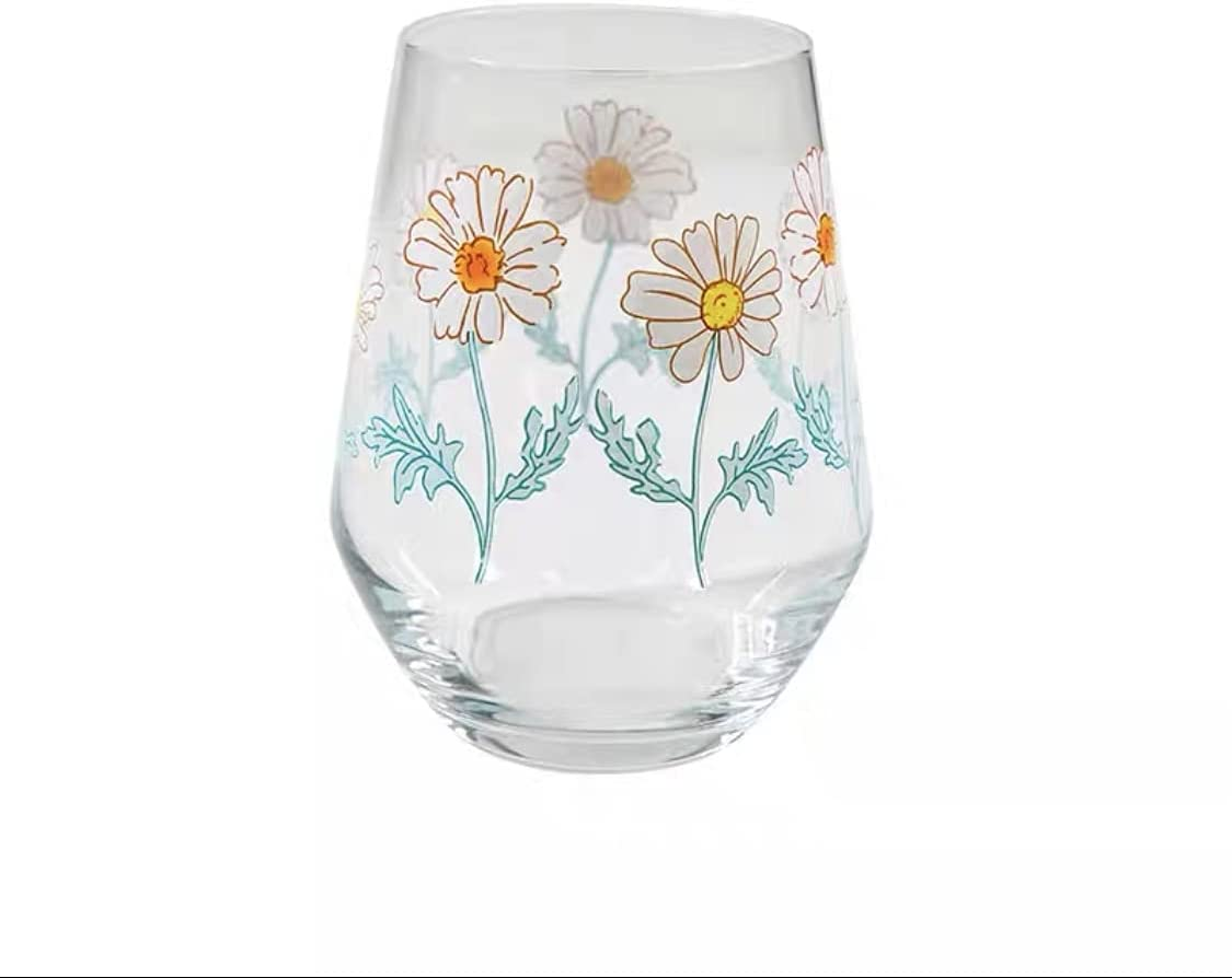 Korean Printing Glass Water Dedication Soda Coffee Cup 2021 autumn and winter new Househ