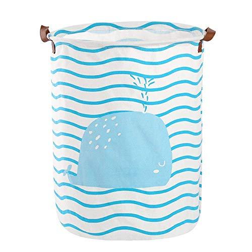 KKGASSAB Gran Canasta de lavandería para Dormitorio Azul a Rayas de algodón y Ropa de Ropa de Ropa Sucia Cesta Dormitorio Plegable baño Cubo Multifuncional del hogar (Color : Blue, Size : One Size)