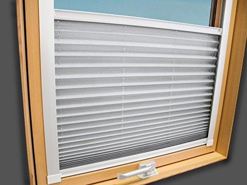 Plissee Faltstore Faltrollo für VELUX Fenster - Profilfarbe Weiß (auch mit silbernen Profilen erhältlich), Stoffgruppe A, Deutsches Markenprodukt, Weiß, GGL GPL GGU GPU F06