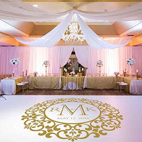 Bruiloft dansvloer sticker aangepaste naam en datum bruiloft decoratie gepersonaliseerde partij vloer decoratie bruiloft stickers 57x57cm
