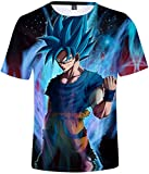FLYCHEN T-Shirt Colorful Impreso en 3D Dragon Ball para Hombre Super Saiyan Cosplay Wu Camiseta Goku - Llama Azul - XL