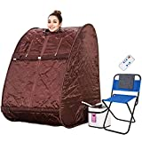 Himimi 2L Foldable Steam Sauna Lightweight Portable Personal Steam Sauna Indoor Home Spa Weight Loss Detox with Chair Remote (Coffee)