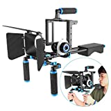 Neewer DSLR Movie Rig Aleación Aluminio para Reflex Digitales Canon Nikon Sony (1) Jaula Fotográfica (1) Mango Superior (2) Palo 15mm (1) Matte Box(1) Follow Focus (1) Estabilizador Hombro Azul