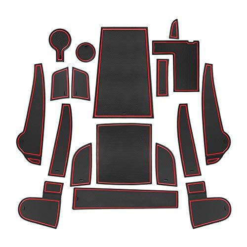 CDEFG für Kona Elektro 2020 Gummi Antirutschmatten Türschlitz rutschfest Anti-Staub Becherhalter Matte Arm Box Aufbewahrung Pads Auto Innere Zubehör (Rot)