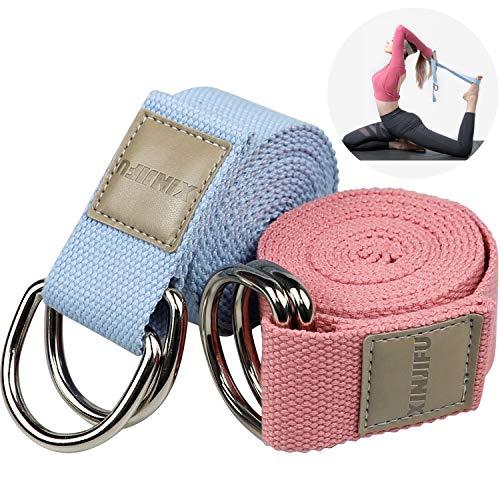 183 cm Correa para Yoga, Algodon Correas de Yoga Ajustable, Cinturón para Estiramientoscon Hebilla Metal D-Anillos para Ejercicios para Ejercicios de Estiramiento, Fitness y Pilates,2pcs (rojo y azul)