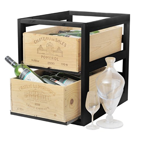 Botellero CASE para 2 cajas de vino de pimienta negro - (TWC/CR negro de madera de fresno)