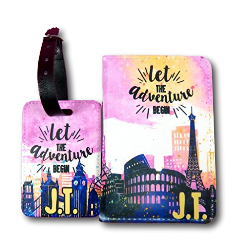 City Scene Personalised Passport Cover and Luggage tag Set Travel Gift Travel Gift Idea Custom Passport Holder World Travel Accessory Gift for Traveller Vacation