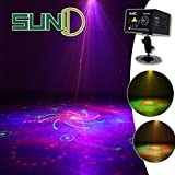 Party Stage Lights SUNY Hardwired Sound Activated Light RG Multiple Patterns Projector Galaxy LED Ripple Wave Projector Indoor Decorative DJ Lights For Xmas Disco Decor Holiday Event Stage Light Show