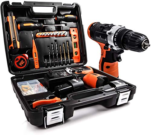 LETTON Power Tools Combo Kit with 168V Cordless Power Drill Set and 24pcs Hand Tool Set Combo Kit in Storage Case