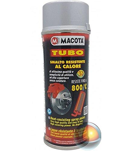 Macota - Esmalte en spray color plateado resistente a las altas temperaturas, para frenos, tubos de escape, pinzas, 400 ml.