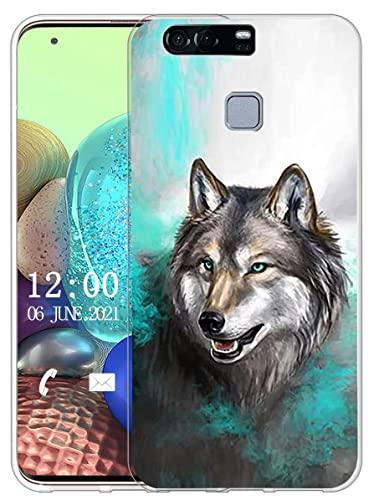 Sunrive Funda Compatible con Huawei P9 Plus, Sunrive Silicona Slim Fit Gel Transparente Carcasa Case Bumper de Impactos y Anti-Arañazos Espalda Cover(X Lobo 1)