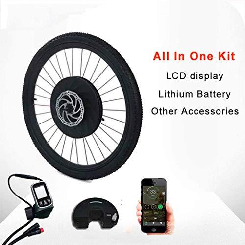 Umrüstsatz für Elektrofahrräder / 2020 Mortor Electric Bike Conversion Kit 1.0 mit Batterie drahtlosen oder nur ein Kabel alle in einem 40 km / h und 40 km Umrüstsatz (Farbe: V-Bremse Draht-Steuerung,