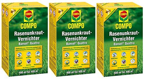 Compo Rasenunkraut-Vernichter Banvel Quattro, Bekämpfung von schwerbekämpfbaren Unkräutern im Rasen, Konzentrat, 1200 ml (1200 m²)