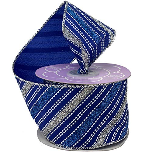 Royal Blue Silver Wired Ribbon - 2 1/2' x 10 Yards, Sparkly Striped Metallic Christmas Decor, Hanukkah, Holiday Garland, Gifts, Wrapping, Wreaths, Bows, Boxing Day, Gift Basket