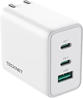 Tecknet PD 充電器 Type-C急速充電器 65W高出力 GaN採用 3ポート搭載(USB-C×2 USB-A×1) PSE認証済 iPhone/MacBook/ipad/ノートパソコン/Switch等対応